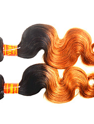 Remy Malaysian Ombre Hair Weaves Body Wave Hair Extensions Two-piece Suit Black/Medium Brown/Strawberry Blonde