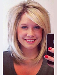 Shulder Length Bob Natural Straight Blonde Capless Cap Human Hair Wig With Side Bang For Women 2017
