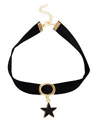 abordables -Femme Fille Etoile Cuir Collier court / Ras-du-cou Pendentif de collier Col  -  Rétro Basique British Noir Colliers Tendance Pour Regalos