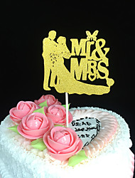 cheap -Cake Topper Garden Theme Classic Theme Classic Couple Card Paper Wedding Anniversary Bridal Shower With Carved Design OPP