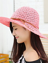 Dme Straw Hat Bowknot Joker Female Shading Wide-brim Cap Girl&lady olding Soft Sun Cap