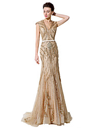 cheap -Mermaid / Trumpet V-neck Floor Length Tulle Formal Evening Dress with Beading by Sarahbridal