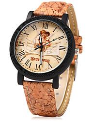 abordables -Mujer Reloj creativo único Reloj de Vestir Reloj de Moda Chino Cuarzo Gran venta Madera Banda Vintage Creativo Casual Dibujos Color Beige