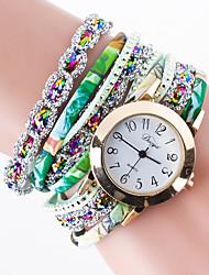 Недорогие -Жен. Часы-браслет Уникальный творческий часы Имитационная Четырехугольник Часы Китайский Кварцевый / PU Группа Творчество Черный Белый