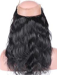 Недорогие -Бразильское виргинское закрытие человеческих волос pre plucked 360 наружное закрытие шнурка с телом 360 волны шнурка тела волос младенца