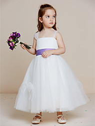 Ball Gown Ankle Length Flower Girl Dress - Tulle Sleeveless Straps with Draping by thstylee