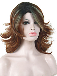 Medium Length Shaggy Layered Light Auburn Ombre Full Synthetic Wigs Wig