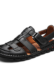Men's Sandals Spring Summer Gladiator Light Soles Leather   Flat Heel Magic Tape Dark Brown Black Walking Shoes