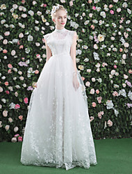 A-Line High Neck Floor Length Lace Tulle Wedding Dress with Lace by QZ