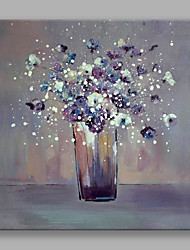 cheap -IARTS®Hand Painted Oil Painting The Purple Vase with Flowers Wall Art with Stretched Frame For Home Decoration