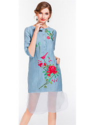 cheap -YANG X-M Women's Daily Going out Cute Loose Dress,Embroidered Round Neck Knee-length Linen Spring Summer Mid Rise Inelastic Thin