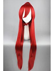 Femme Perruque Synthétique Long Droite Rouge Avec queue de cheval Perruque de Cosplay Perruque Déguisement