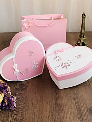 Heart-shaped Card Paper Favor Holder With Bow Favor Boxes Candy Jars and Bottles Gift Boxes-1