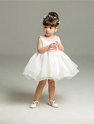 Недорогие -бальное платье короткое / мини-платье девушки цветка - органза без рукавов жемчужина шеи с бисером по ydn