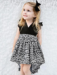 cheap -Girl's Daily Going out Animal Print Patchwork Dress,Rayon Polyester Summer Sleeveless Lace Bow Black