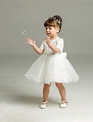 preiswerte -Ballkleid kurz / Mini Blume Mädchen Kleid - Organza kurzen Ärmeln Juwel Hals mit Perle von ydn