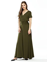 Damen Hülle Kleid-Lässig/Alltäglich / Übergröße Einfach / Street Schick Solide V-Ausschnitt Maxi Kurzarm Blau / Rot / Schwarz / Grün