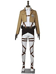 economico -Ispirato da Attack on Titan Mikasa Ackermann Anime Costumi Cosplay Abiti Cosplay Tinta unita Manica lunga Top Pantaloni Grembiule Cintura