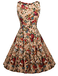 cheap -Women's Vintage Street chic Swing Dress - Floral High Rise