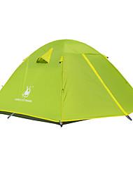 baratos -3 pessoa Tenda Dupla Camada Barraca de acampamento Ao ar livre Tenda Dobrada Prova-de-Água / A Prova de Vento / Dobrável para Equitação /
