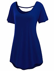 cheap -Women's Daily Going out Beach Vintage Casual Active A Line Loose Sheath Dress,Solid Round Neck Above Knee Short Sleeves Cotton Linen
