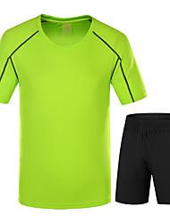 economico -LEIBINDI Per uomo T-shirt e pantaloncini da corsa Manica corta Asciugatura rapida Indossabile Traspirante Comodo Set di vestiti per