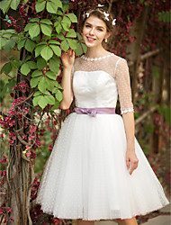 A-Line Princess Illusion Neckline Knee Length Tulle Wedding Dress with Appliques Sash / Ribbon by LAN TING BRIDE®