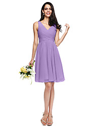 cheap -A-Line V Neck Knee Length Chiffon Bridesmaid Dress with Ruched Criss Cross Side Draping by LAN TING BRIDE®