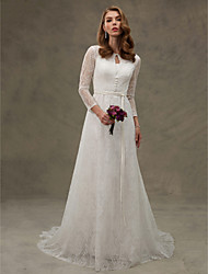 A-Line Jewel Neck Court Train Lace Wedding Dress with Appliques Sash / Ribbon Button by LAN TING BRIDE®