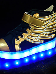 cheap -Boys' Shoes PU Summer Fall Light Up Shoes Novelty Comfort Sneakers Walking Shoes LED Hook & Loop Lace-up for Athletic Casual Outdoor Gold