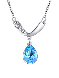 Women's Pendant Necklaces Crystal Chrome Euramerican Fashion Personalized Simple Style Light Green Light Blue Red Purple Jewelry For
