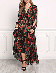 cheap -Women's Going out Loose Dress,Floral V Neck Maxi Long Sleeves Polyester Summer Mid Rise Micro-elastic Medium