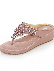 cheap -Women's Sandals Spring Summer Fall Comfort Light Soles PU Office & Career Dress Casual Wedge Heel Rhinestone Almond Purple Walking