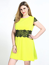 cheap -Really Love Women's Plus Size Vintage Cute A Line Lace T Shirt Dress - Color Block, Lace