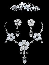 Damen Schmuckset Braut-Schmuck-Sets Strass Blumen Strass Aleación Blumenform 1 Halskette 1 Paar Ohrringe 1 Haarschmuck FürHochzeit Party