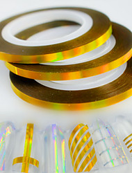 30pcs/box 3mm Fashion Laser Gold Nail Art Glitter Foil Striping Tape Line Sticker Rainbow Sparkling Decoration
