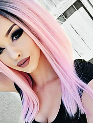 cheap -Synthetic Lace Front Wig Straight Synthetic Hair Ombre Hair / Dark Roots / Natural Hairline Pink Wig Women's Medium Length Lace Front Wig