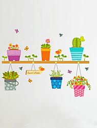 Недорогие -Цветы Мультипликация ботанический Наклейки Простые наклейки Декоративные наклейки на стены, Винил Украшение дома Наклейка на стену Стекло