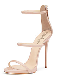 cheap -Women's Sandals With Three Straps 2018 Nude Blush Shiny Patent High Heel Shoes Sxey Sandals Ladies Gladiator Heels Stilettos Plus Size