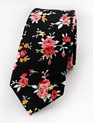 cheap -Men's Cotton Neck Tie,Vintage Cute Party Work Casual Jacquard All Seasons Black