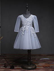 A-Line Knee Length Flower Girl Dress - Organza Long Sleeves V-neck with Beading by likestar