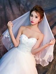 cheap -Two-tier Cut Edge Lace Applique Edge Wedding Veil Elbow Veils With Applique Lace Tulle