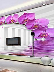 Fleur 3D Fond d'écran pour la maison Contemporain Revêtement , Toile Matériel adhésif requis Mural , Couvre Mur Chambre