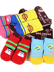 cheap -Cat Dog Socks Cute Casual/Daily Keep Warm Cartoon White/White Light gray Random Color black+black bright blue For Pets