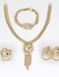 baratos -Mulheres Conjunto de jóias - Strass Fashion, Euramerican Incluir Brincos / pulseira Colar / anel Dourado Para Casamento Festa Aniversário / Anéis