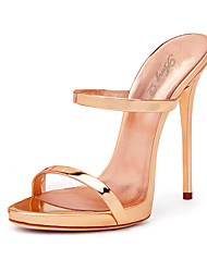 cheap -Women's Sandals With Heel 2018 Rose Gold Shiny Patent High Heel Shoes Sxey Strappy Sandals Ladies Gladiator Heels Stiletto Mules Plus Size