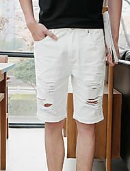 abordables -Hombre Corte Recto Delgado Shorts Vaqueros Pantalones - Un Color, rasgado