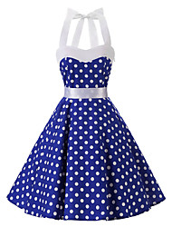 cheap -Women's Vintage Cotton Swing Dress - Polka Dot Blue Halter