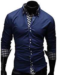 cheap -Men's Plus Size Cotton Shirt - Plaid Print Button Down Collar