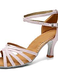 cheap -Women's Latin Leatherette Heel Indoor Customized Heel Fuchsia Coffee Black/Gold Black/Silver Blushing Pink Customizable